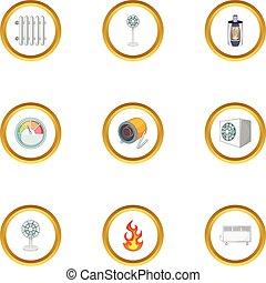 Conditioning icons set, cartoon style