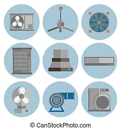 conditioning system flat icons set