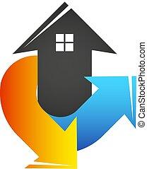 conditionnement, air, chauffage, refroidissement, maison, symbole