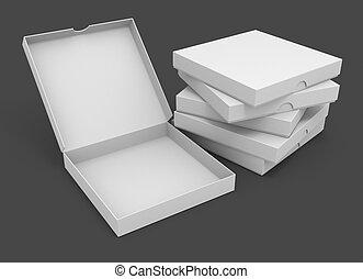 conditionnement, blanc, boîtes, pizza