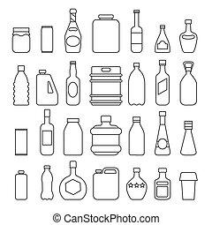 conditionnement, boisson, icônes