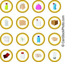 conditionnement, cercle, dessin animé, icône