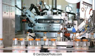 conditionnement, industry., ligne, bouteilles, lait
