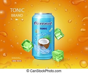 conditionnement, noix coco, drink., eau, réaliste, vecteur, tonique, publicité