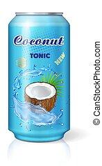 conditionnement, noix coco, eau boisson, vecteur, boîte, 3d