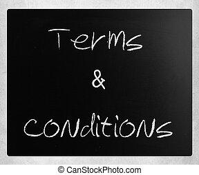 """&, conditions"""", blackboard., tafelkreide, """"terms, weißes, handgeschrieben"""