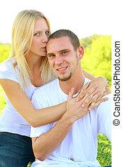 condivisione, amore, coppia, giovane, caucasico, felice