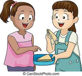 condivisione, bambini, ragazze, illustrazione, tratti volto, buono