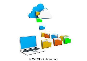 condivisione, concetto, dati, nuvola