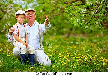 condivisione, giardino, nipote, primavera, esperienza, nonno