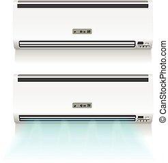 condizionatore aria, isolato, bianco, photo-realistic, vettore