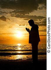 condizione uomo, a, il, oceano, pregare