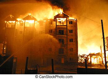A blazing condo fire.