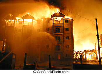 condo fire 4 - A blazing condo fire.