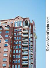 condo, marrón, torre, blanco, balcones