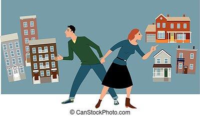 Condo or house - Young couple deciding between a condo and a...