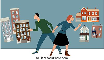 Condo or house - Young couple deciding between a condo and a...