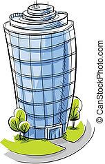 A cartoon, glass condo tower.