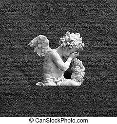 condolences card with crying angel image on black handmade...