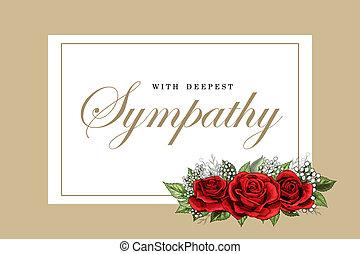 condolences, compaixão, cartão, floral, rosas vermelhas,...