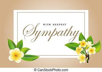Condolences sympathy card floral frangipani or plumeria...