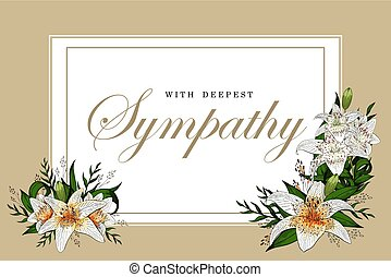 Tiger lily flower bouquets on white frame with coffe border. Condolences sympathy card floral lily bouquet and golden lettering vector template