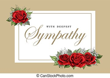 Condolences sympathy card floral red roses bouquet and golden lettering vector template