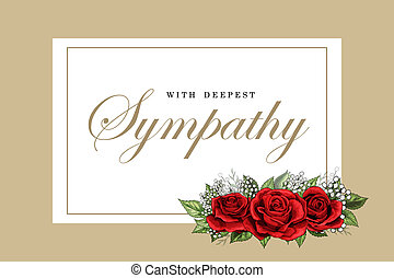 Condolences sympathy card floral red roses bouquet and...