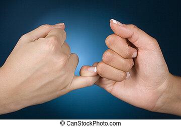 condolencia, manos, exposición