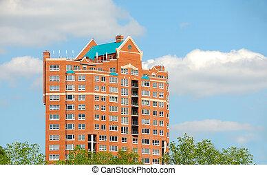 condomínio, apartamento, nuvens, complexo