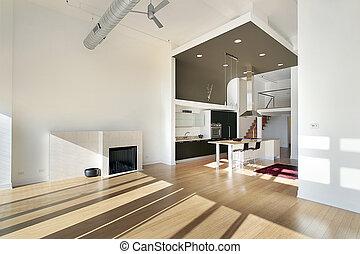 condomínio, contemporâneo, cozinha