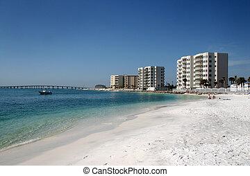 condomínios, ao longo, praia