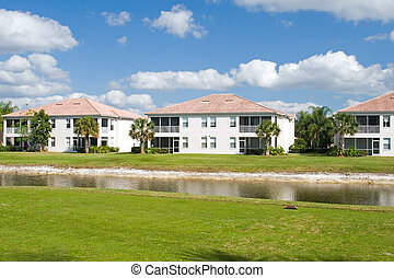 condomínios, curso, golfe