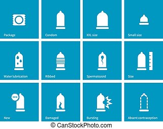 Condom and contraception icons on blue background.