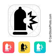 Condom bursting icon. Vector illustration.