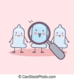 condom cartoon with magnifier