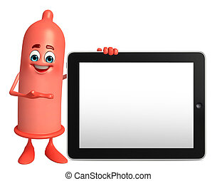 Condom Character with tab - Cartoon Character of Condom with...
