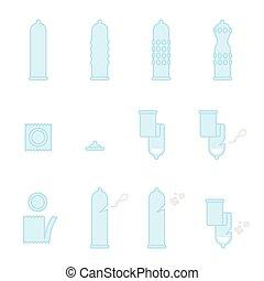 Condom icons illustration set blue color flat design isolated on white background