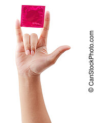 condom in female hand isolated