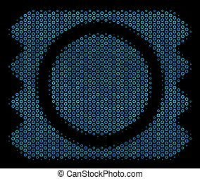 Condom Package Mosaic Icon of Halftone Bubbles - Halftone...