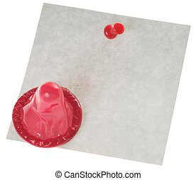 Condom with an empty note