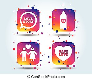 Condom safe sex icons. Lovers couple sign.