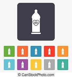 Condom safe sex sign icon. Barrier contraceptive