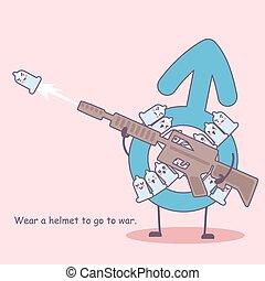 Condom with gun - condom wear a helmet to go to war- safe...