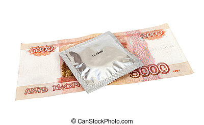 Condom with money on white background