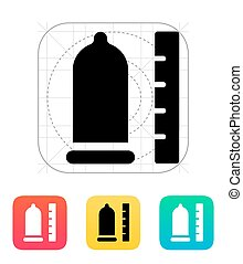 Condom with ruler icon. Vector illustration.