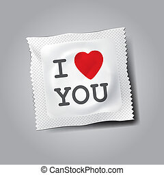 Condom with text I love you, vector Eps10 illustration.