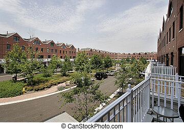 condominio, complejo, vista trasera