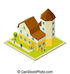 Condominium, apartment house isometric and people, vector -...