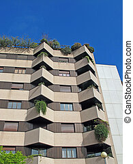 condominium building with apartments for families and offices